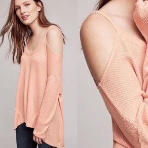 Anthro Deletta cold shoulder blush pink sweater